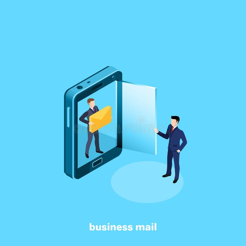 A man in a business suit with a letter and a smartphone with a glass door royalty free illustration
