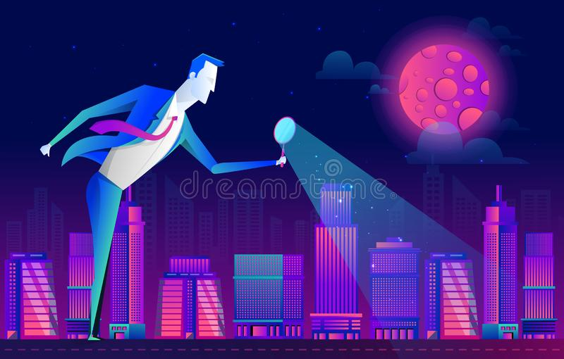 A man in a business suit looks at the people and city through a magnifying glass, vector flat design royalty free illustration