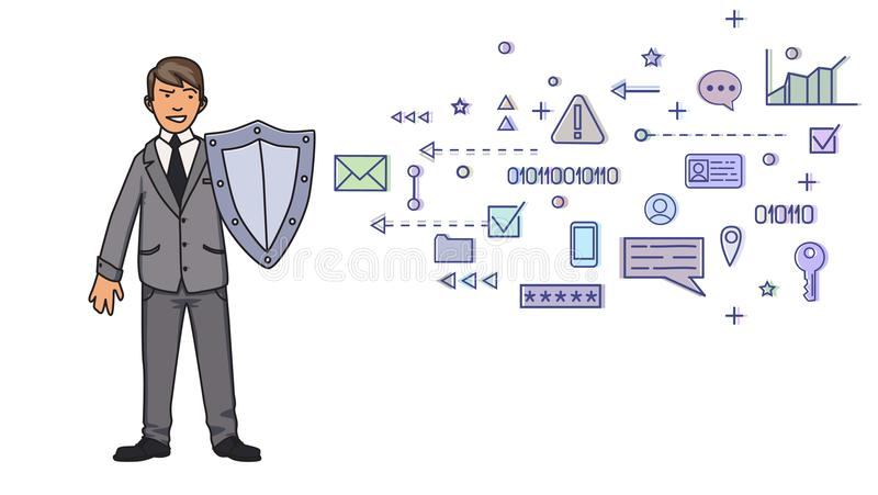 Man in business suit protecting himself with a shield from digital and network symbols. Personal data protection. GDPR. Man in business suit protecting himself royalty free illustration
