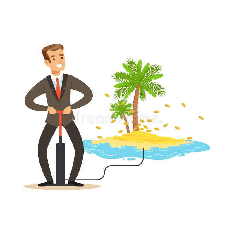 Man in a business suit pumping the money to offshore tropical island, hidden in offshore wealth resources vector stock illustration