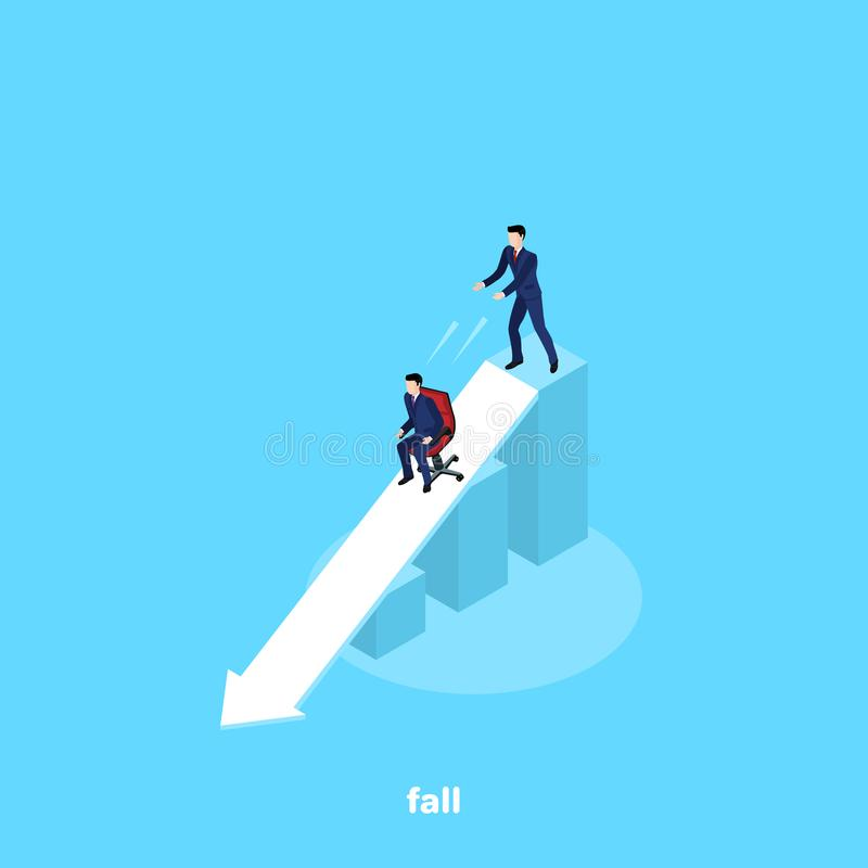 A man in a business suit pushes a chair downstairs with another man. An isometric image stock illustration