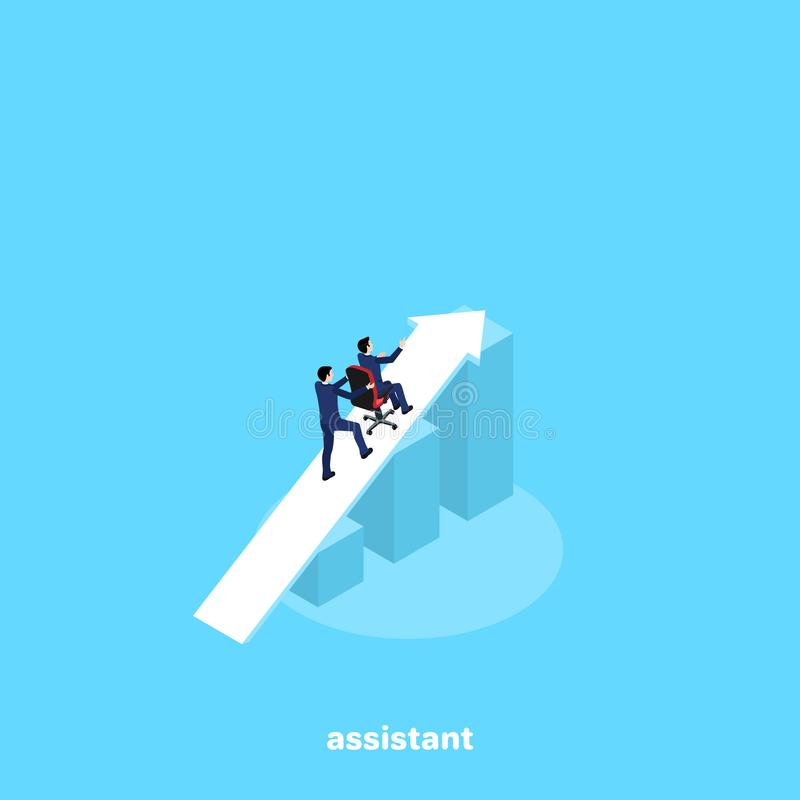 A man in a business suit pushes up an armchair with another man. An isometric image royalty free illustration