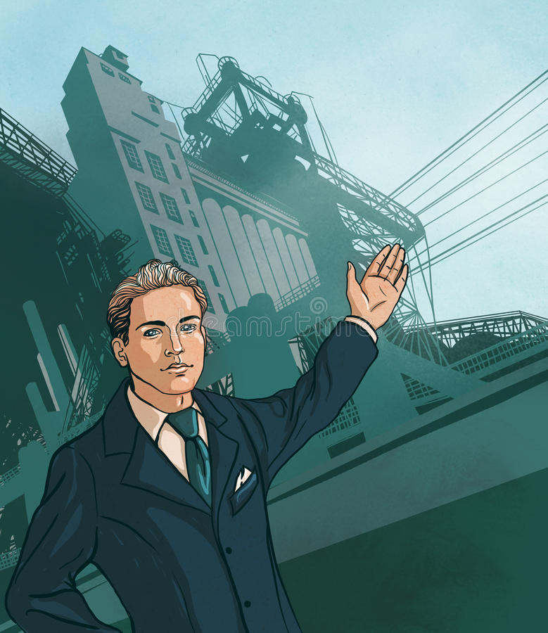 Download Man In Business Suit Shows Production Stock Illustration - Image: 19097831