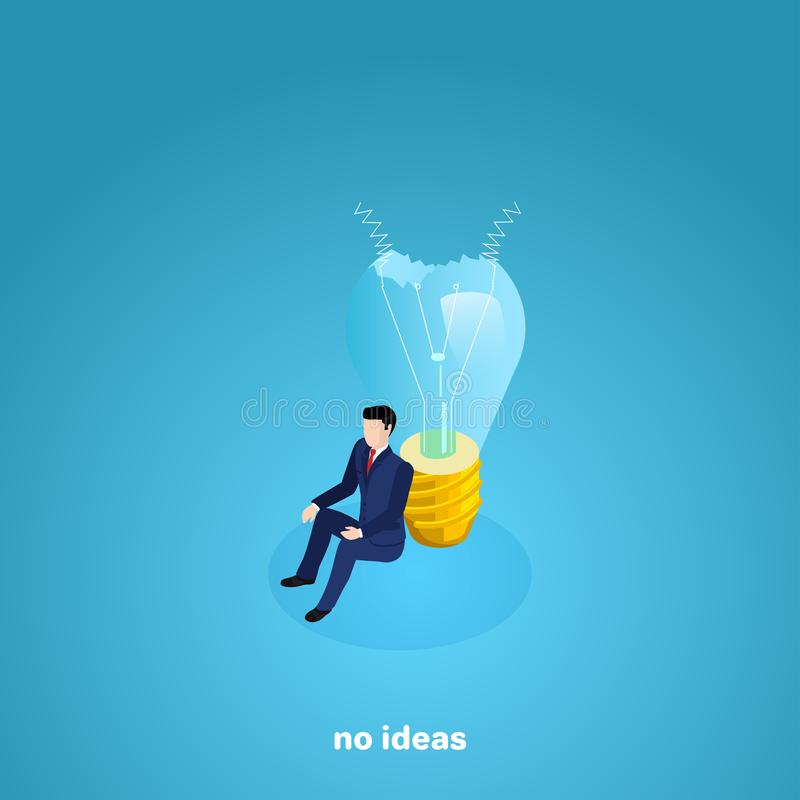 A man in a business suit sits on the floor leaning on a broken light bulb. An isometric image stock illustration