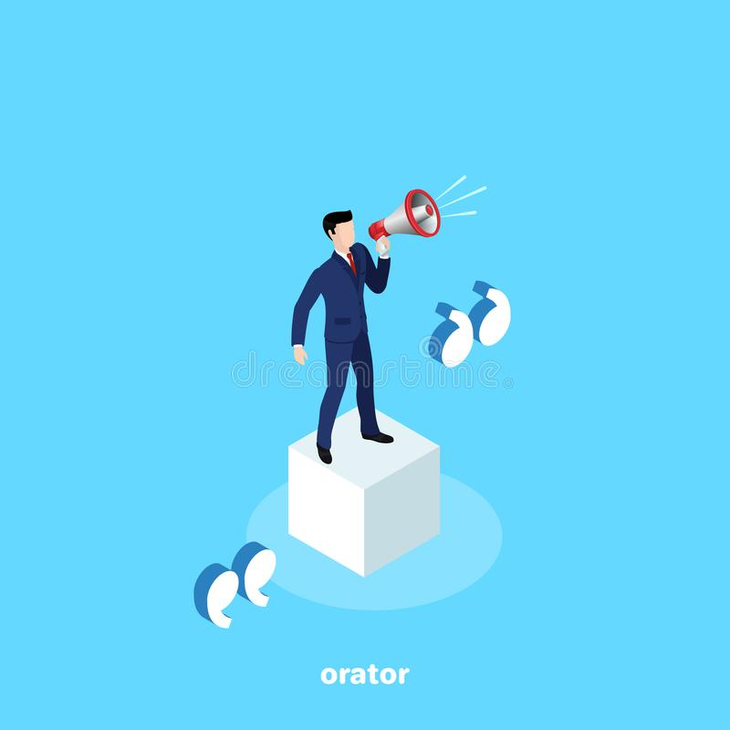 A man in a business suit is standing on a white cube with a loudspeaker. An orator`s speech, an isometric image stock illustration