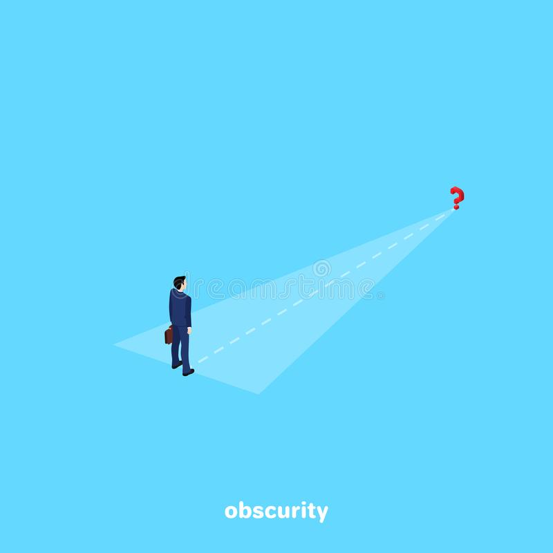A man in a business suit stands at the beginning of a long journey royalty free illustration
