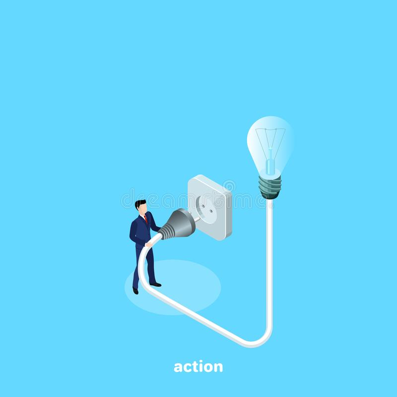 A man in a business suit turns on a light bulb. An isometric image vector illustration