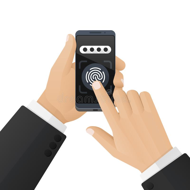 Man in a business suit unlocks a smartphone with a fingerprint scanner. Concept of security and biometric identification vector illustration