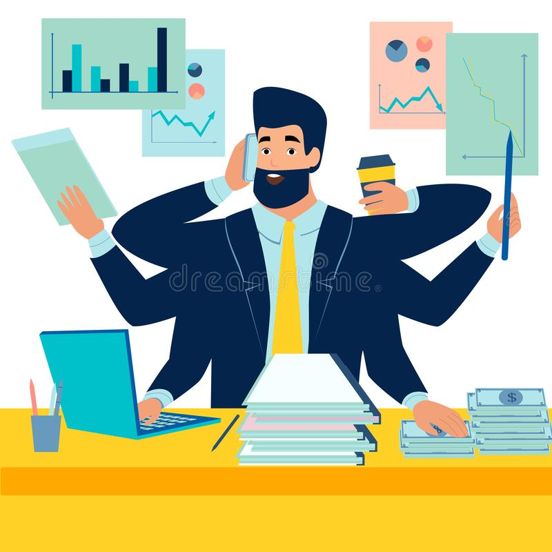 A man businessman has time to do everything. A man with a lot of hands. In minimalist style. Cartoon flat Vector stock illustration
