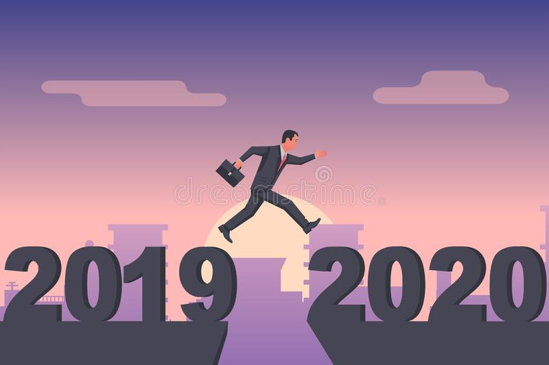 Man businessman jumps from 2019 to 2020 on background city. royalty free illustration