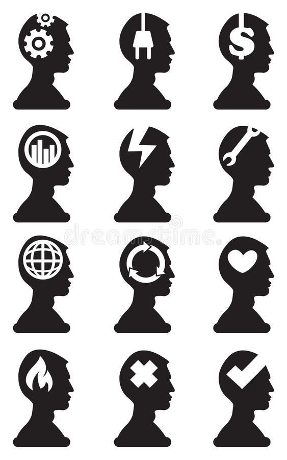 Man Bust Silhouette with Conceptual Symbols in Brain Vector Icon vector illustration