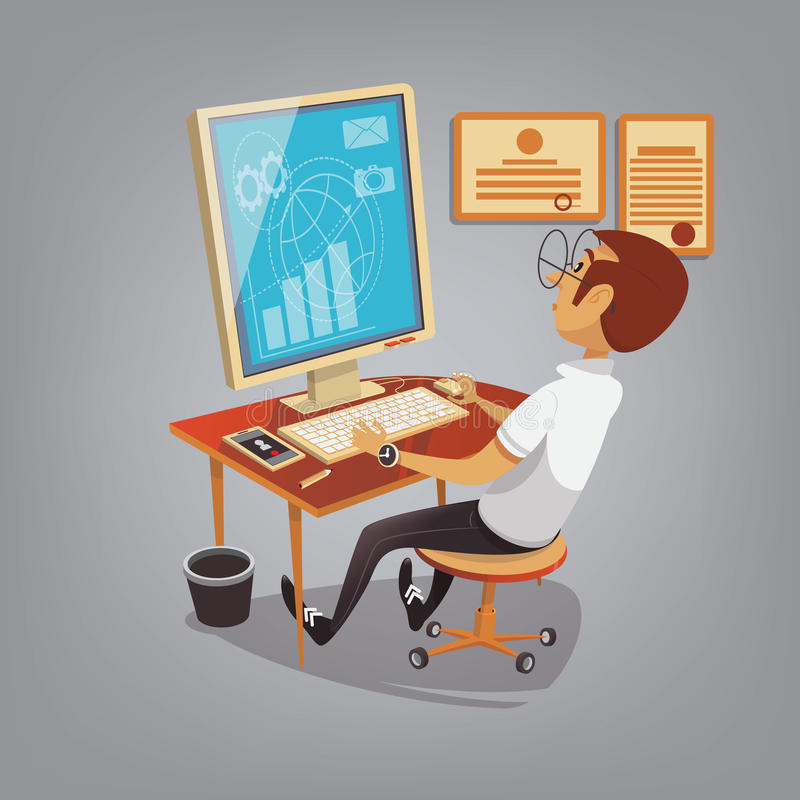 Man busy working with computer in office. Business concept vector illustration in cartoon style. Manager makes sales. Report vector illustration