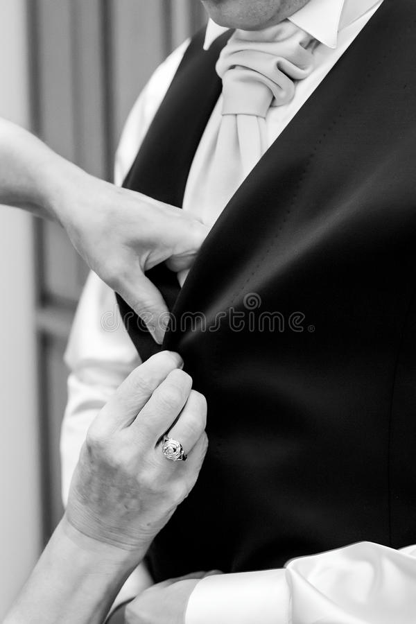 Man buttons white shirt royalty free stock photo