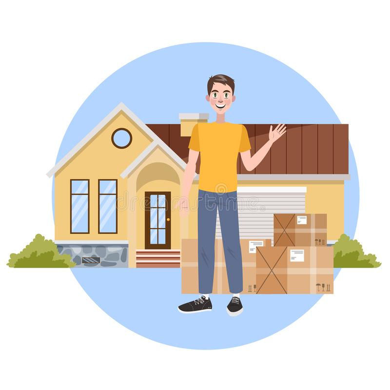 Man buy a new house. Property purchase. vector illustration