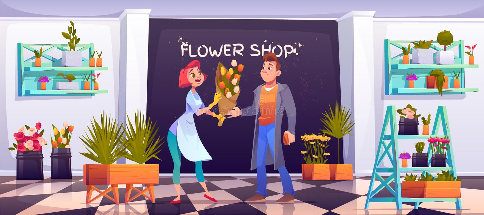 Man buying bouquet in flower shop, floristic store. Man buying bouquet in flower shop, saleswoman and customer in floristic store with potted plants on shelves stock illustration