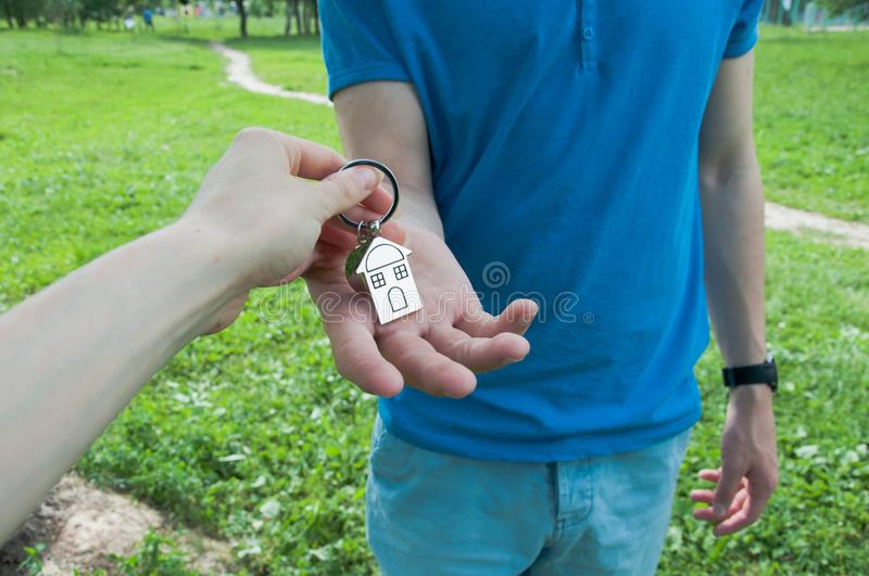 Man buying a new house stock images