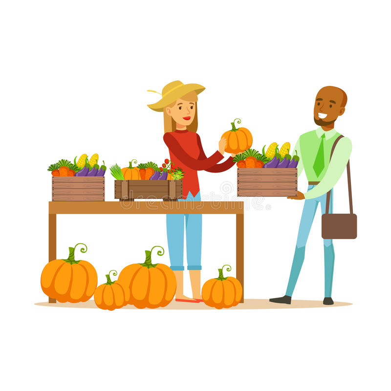 Man Buying Vegetables From Farming Stand, Farmer Working At The Farm And Selling On Natural Organic Product Market royalty free illustration