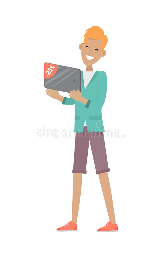 Man Buys Digital Tablet at Discount Price. Vector vector illustration