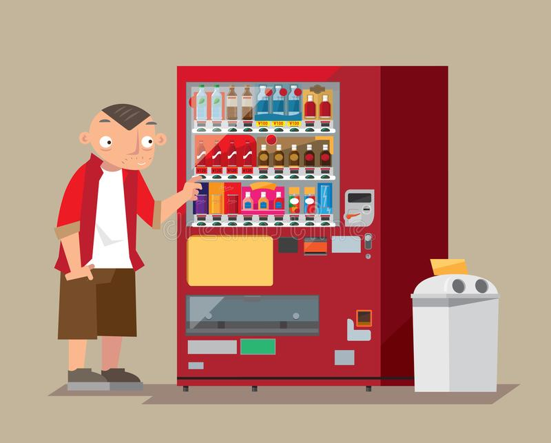 A man buys a drink from a Japan`s roadside beverage vending machine. Graphic illustration of a man buys a drink from a Japan`s roadside beverage vending machine vector illustration