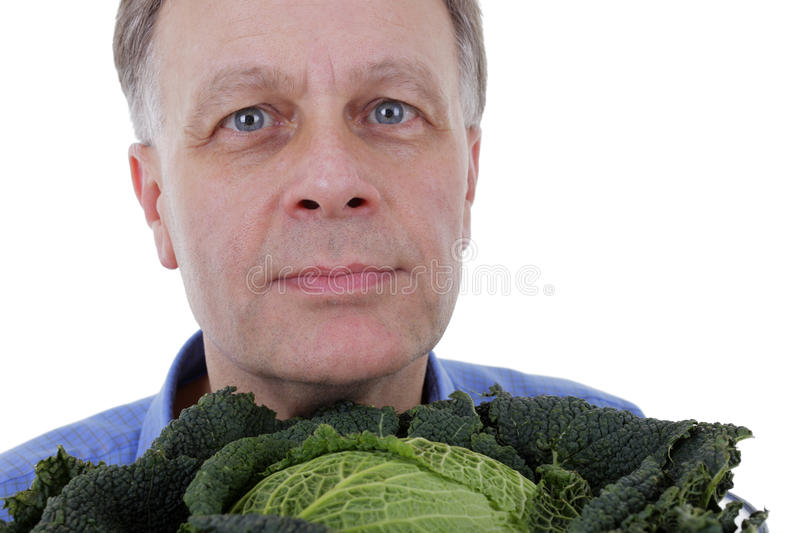 Download Man with cabbage stock image. Image of handsome, person - 25477443