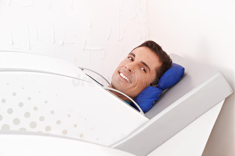 Man in cabin ozone royalty free stock photos