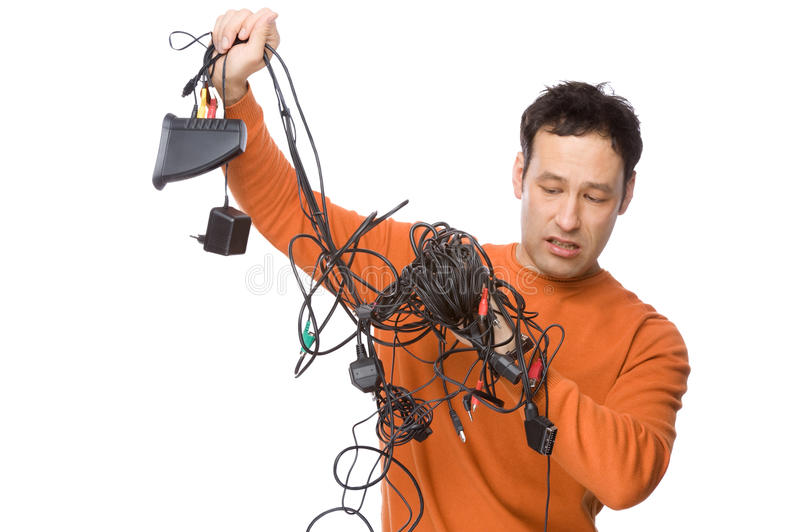 Man with cables royalty free stock photography