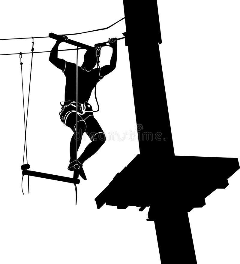 Man on cables in an adventure park on a difficult course. park on a difficult course. Silhouette Adventure. adventure park. stock illustration