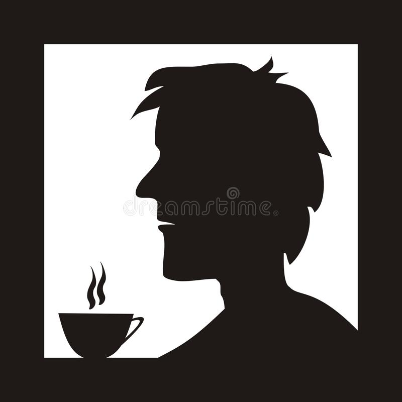 Man in cafe. Man drinking coffee in a cafe. Silhouette royalty free illustration