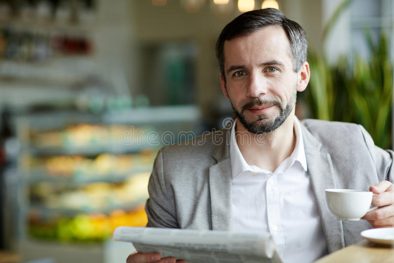 Man in cafe stock image