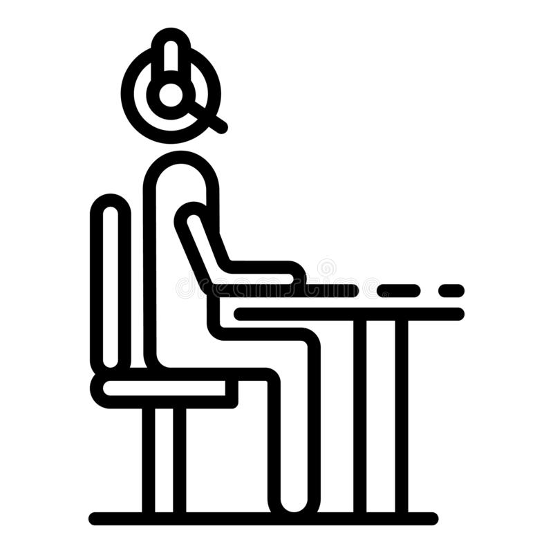 Man at call center office icon, outline style royalty free illustration