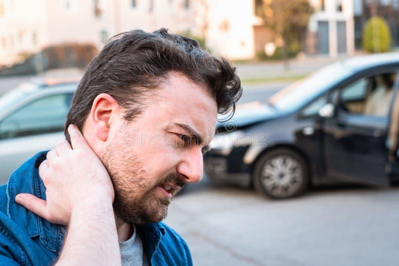 Man calling roadside service after car crash stock photography