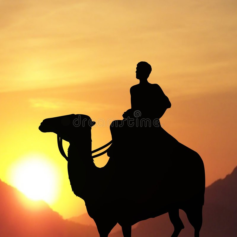 Man on Camel. Silhouette of man on a camel with a sunset background royalty free stock photos