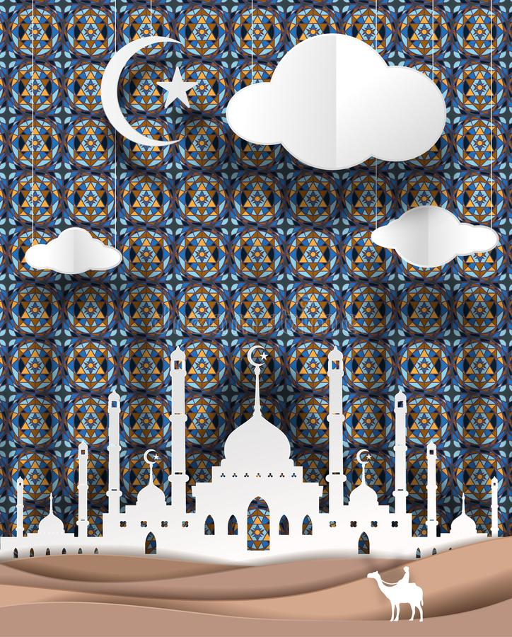 man and camel front of Masjid geometry of Islamic design background vector paper art. paper cut cute illustration stock illustration