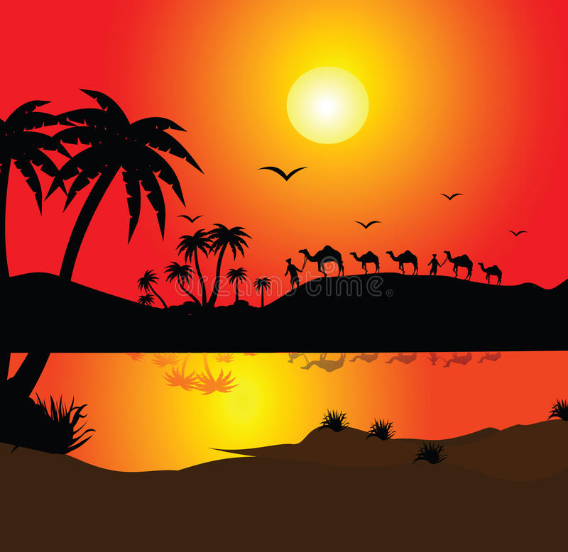 Man with camels. Silhouette of a man with camels royalty free illustration