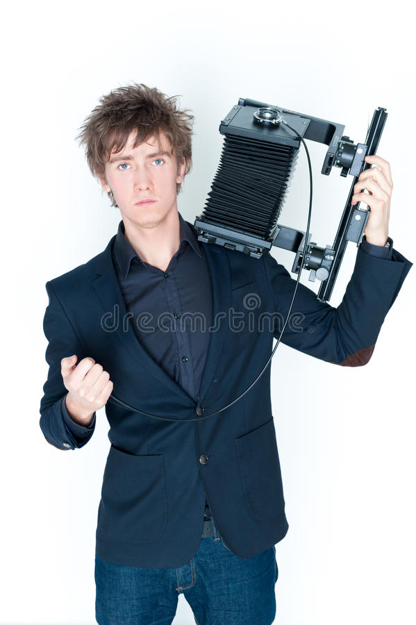 Download Man with camera stock image. Image of active, rack, background - 23090771