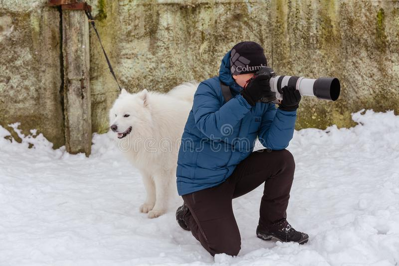 A man with a camera takes pictures of dogs. Gomel, Belarus stock photography