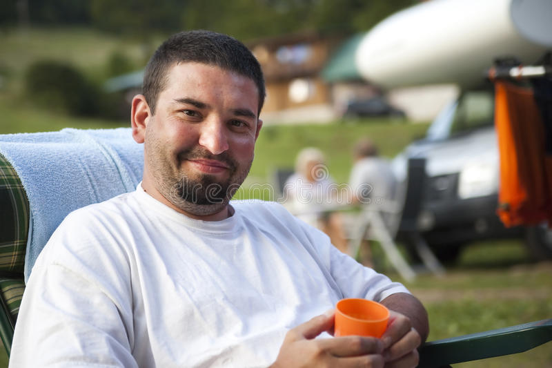 Man on the campsite royalty free stock images