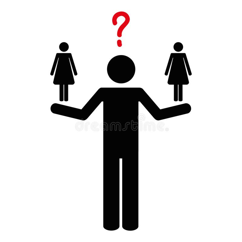Man can not decide between two women pictogram. Vector illustration EPS10 royalty free illustration