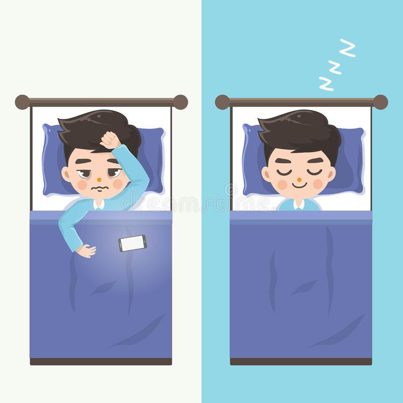 The man can`t sleep and makes him sleep comfortably by without mobile phones. The man can`t sleep because of the light from the mobile phone and when he doesn`t stock illustration