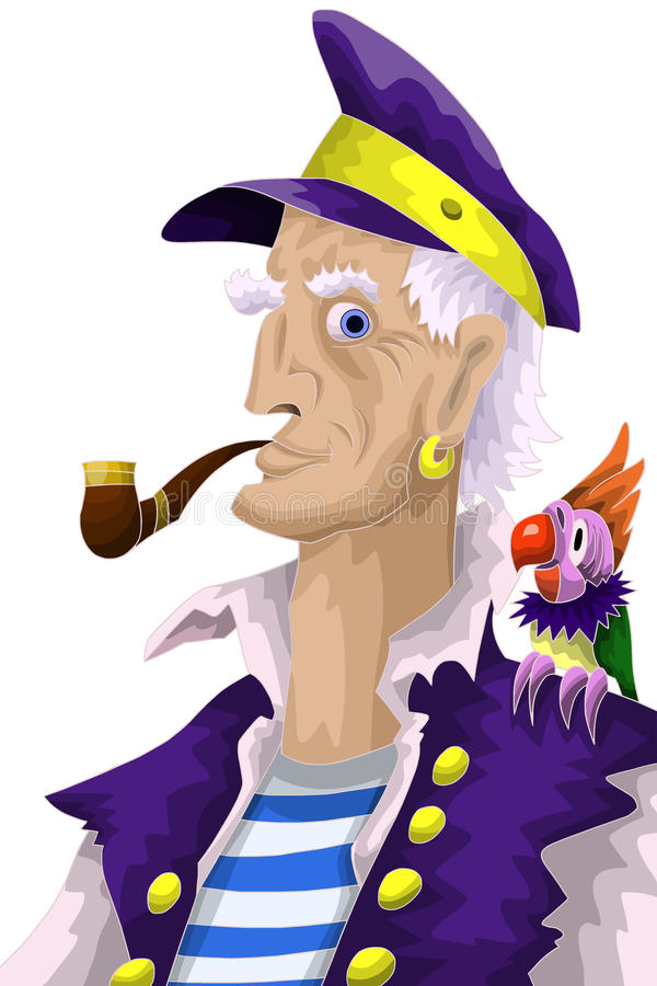 Man Captain Parrot Character Cartoon Style  Illustration Stock Images