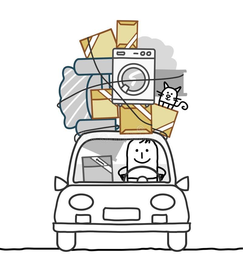 Man in car & move. Hand drawn cartoon characters - man in car & move
