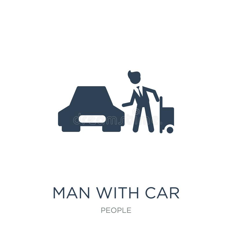 Man with car and suitcase icon in trendy design style. man with car and suitcase icon isolated on white background. man with car. And suitcase vector icon royalty free illustration