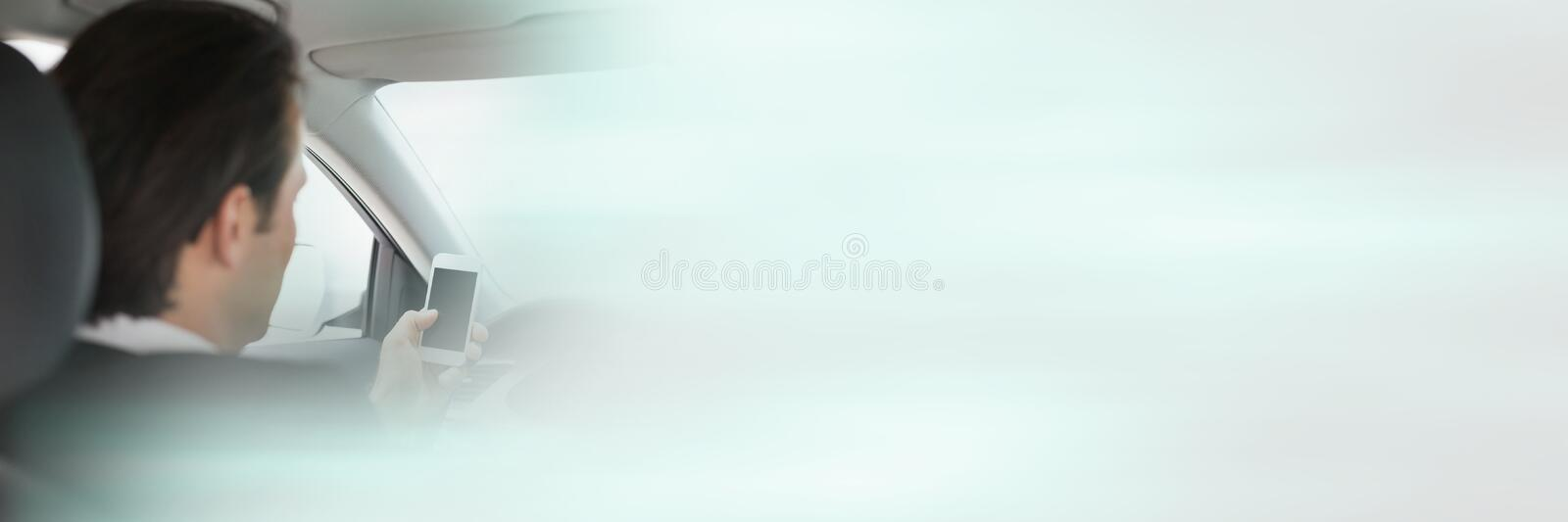 Man in car with transition effect. Digital composite of Man in car with transition effect royalty free stock image