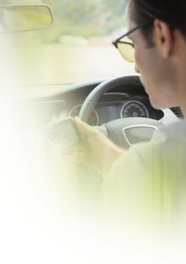 Man in car with transition effect stock photos
