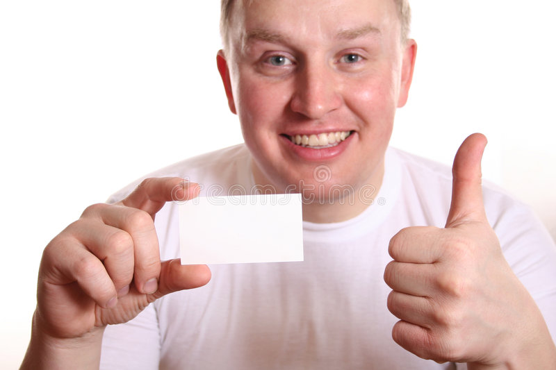 Man with card and thumb up royalty free stock image