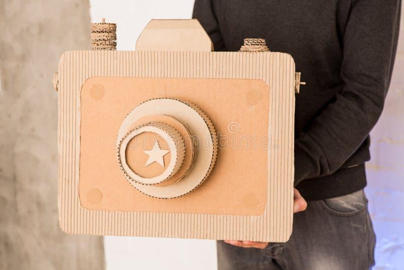 A man with a cardboard camera stock photos