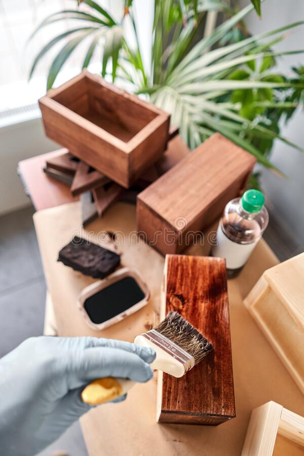Man carpenter varnishing wooden crate for flowers with brush in her small business woodwork workshop. In your work, do royalty free stock image