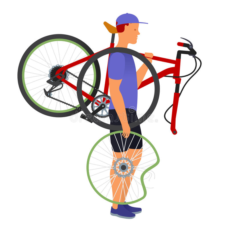 A man carries a broken bicycle and wheel royalty free illustration