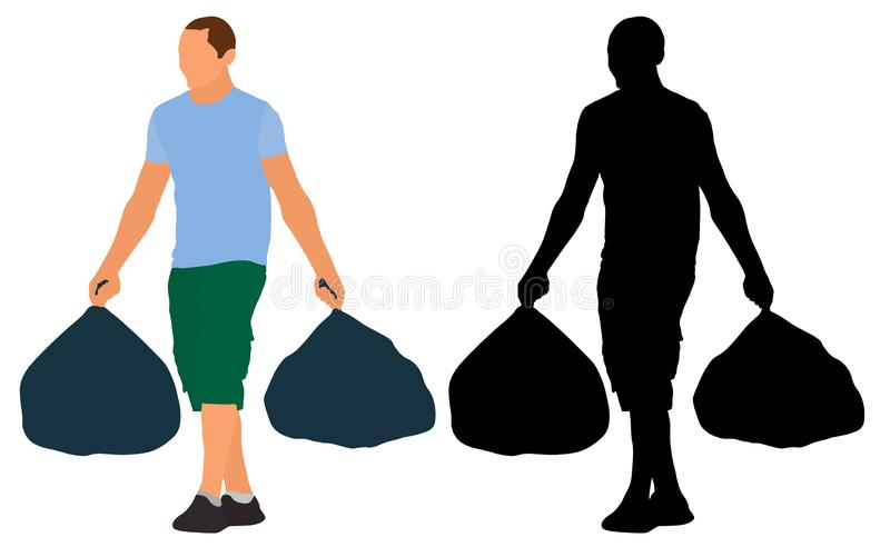 Man carries garbage bags. Vector silhouette illustration vector illustration