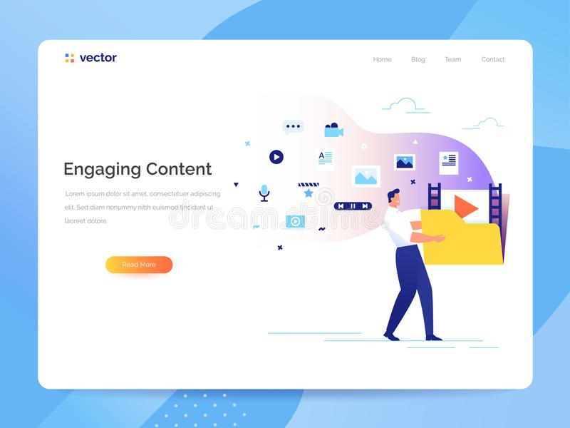 Engaging content concept. Man carries a large folder with media files. Communication with subscribers vector. A man carries a large folder with media files vector illustration